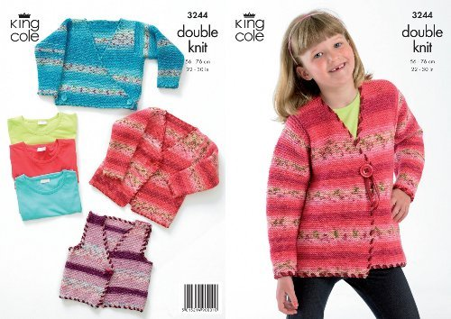 King Cole Double Knitting Pattern Girls Knitted Cardigans Childrens Splash DK 3244 by King Cole by King Cole