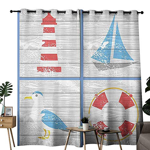Seagulls Decor Blackout Curtain Nautical Inspired Seagull Lighthouse Lifebuoy and Sailboat on Wooden Board Background Wedding Party Home Window Decoration W84 xL84 Multi