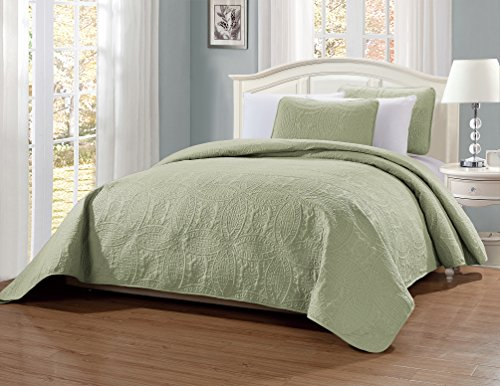 MK Home Mk Collection 3pc Full/Queen Solid Embossed Bedspread Bed Cover Over Size Light Green New