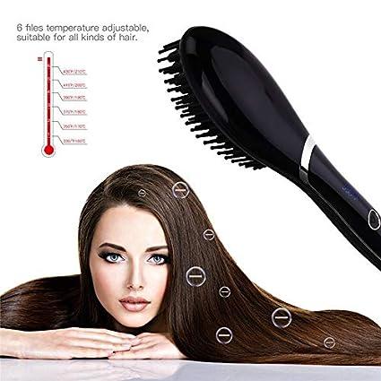 Cepillo de aire caliente Cepillo alisador de cabello iónico PTC ...