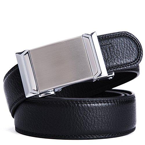 New Mens Leather (Men's belt, Prometheus new leather ratchet automatic belt (XL(47.2IN), Black-1))