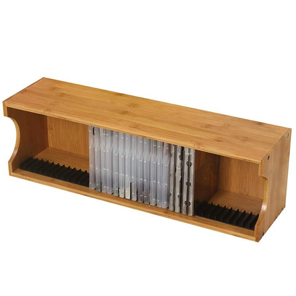 Jcnfa-Shelves Your Home CD Storage Box CD Tray Holds 39 CD Cases PS4 Game Disc Rack for Media Shelf Storage and Organization (Color : Bamboo, Size : CD Holder) by Jcnfa-Shelves