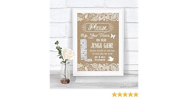 Arpillera y encaje efecto juego Jenga mensaje personalizado boda cartel impresión Small A5: Amazon.es: Oficina y papelería