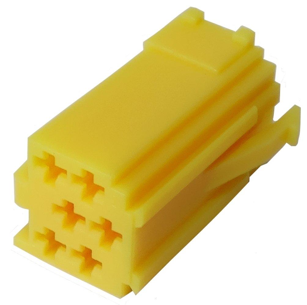 Aerzetix - Spina giallo vuoto mini connettore ISO 6 PIN per autoradio per auto . SK2-C10874-Q33