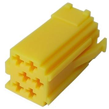 Aerzetix Connecteur Fiche Jaune Vide Mini Iso 6pin Pour Autoradio