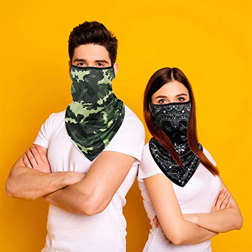 AOGE 3 Pack Elastic face mask Bandana with Ear Loops, Summer face Cover Neck Gaiter Scarf, Unisex Balaclava face mask Reusable Washable
