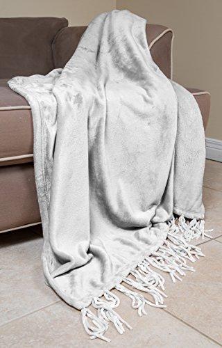 Elle Decor Chenille Fringe Sofa Throw - Soft Warm Flannel Plush - for Couch and Sofa (True White, 50