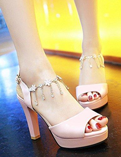 Aisun Kvinna Mode Rhinestone Dressat Buck Chunky Hög Klack Peep Toe Plattform Sandaler Med Ankelbandet Rosa