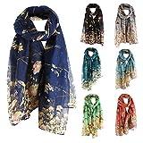HULKAY Fashion Scarves Floral Bird Print Wrap Scarf Shawls for Womens
