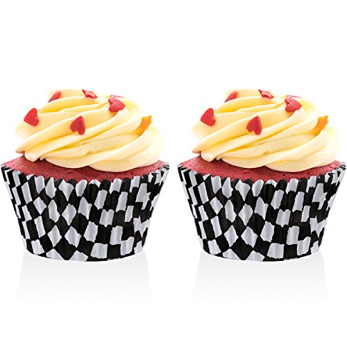 Race Flag Cupcake Wrapper Paper Baking Cup Covers for Cake Decorations, Black and White (Style 2)