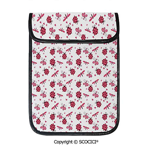 SCOCICI Simple Protective Domed Back Round Ladybugs with Hearts Flowers Dragonflies Romantic Wings Pattern Pouch Bag Sleeve Case Cover for 12.9 inches Tablets ()