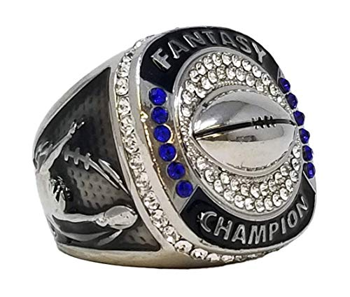 Decade Awards Silver Fantasy Football Champion Ring, Style B - Heavy FFL League Champ Ring with Stand (9)
