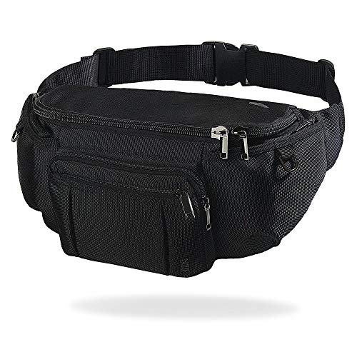 NZII Outdoor Travel Sports Fanny Pack for Men Women, Hiking Running 6-Zipper Pockets Waist Pack, Super Capacity Water-Resistant Bum Bag with Adjustable Belt(large black)