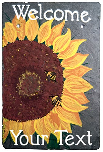 (Cohas Personalized Sunflower and Bees Hand Painted Welcome Sign on 8 by 12 Inch Slate Board with Choice of Text)