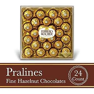 Ferrero Rocher Fine Hazelnut Milk Chocolate, 24 Count, Chocolate Candy Gift Box, Perfect Easter Egg and Basket Stuffers, 10.5 oz
