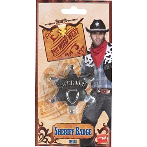 Smiffys 99061 Déguisement Adulte Insigne Étoile de Shériff, Argent, Taille Unique