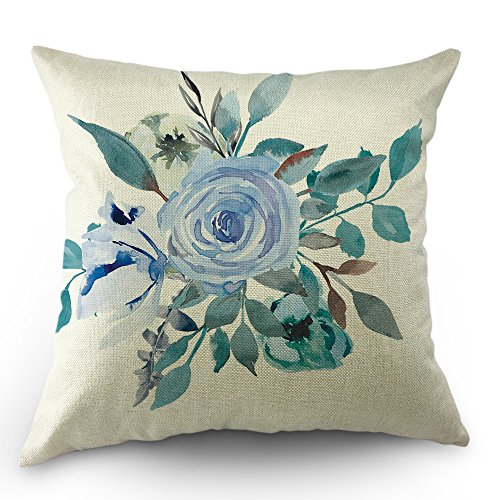 Rose Floral Throw - Moslion Floral Pillows Decorative Throw Pillow Cover Case Rose Flowers Leaves Cotton Linen Pillow Case 18 x 18 Inch Square Cushion Cover for Sofa Bedroom Men Women Turquoise Sky Blue
