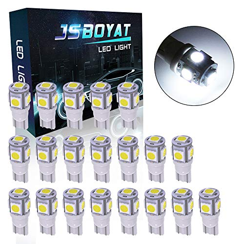JSBOYAT 20PCS Dual PCB T10 194 Led Light Bulbs White 6500K 168 2825 175 W5W 5SMD 5050 Chipset LED Replacement Bulbs for Car Dome Map Door Courtesy License Plate Lights