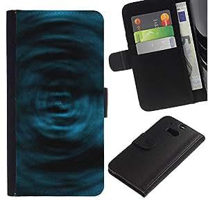 LASTONE PHONE CASE / Lujo Billetera de Cuero Caso del tirón Titular de la tarjeta Flip Carcasa Funda para HTC One M8 / Blue Swirls