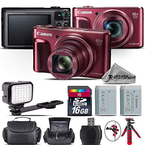 Canon PowerShot SX720 HS Digital Camera RED + 16GB Class 10 Memory Card + LED Kit + Backup Battery + Tripod + Case + Cleaning Kit - International Version -  TriStateCamera, CANPSSX720RDKA