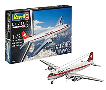 Revell- Douglas Maqueta DC-4 Balair/Iceland Airways, Kit Modello, Escala 1:72 (4947) (04947), 40,1 cm de Largo (