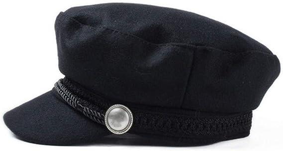 SUNTRADE Ladies Girls Women Wool Blend Navy Cap Baker Boy Peaked Cap Newsboy Hat Black