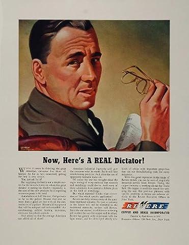 1943 Ad WWII Revere Copper Brass Lyman Anderson Man WW2 - Original Print Ad - Revere Copper Brass