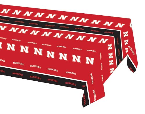 Creative Converting University of Nebraska Plastic Table Cover, 54 by 108-Inch, Case of 12
