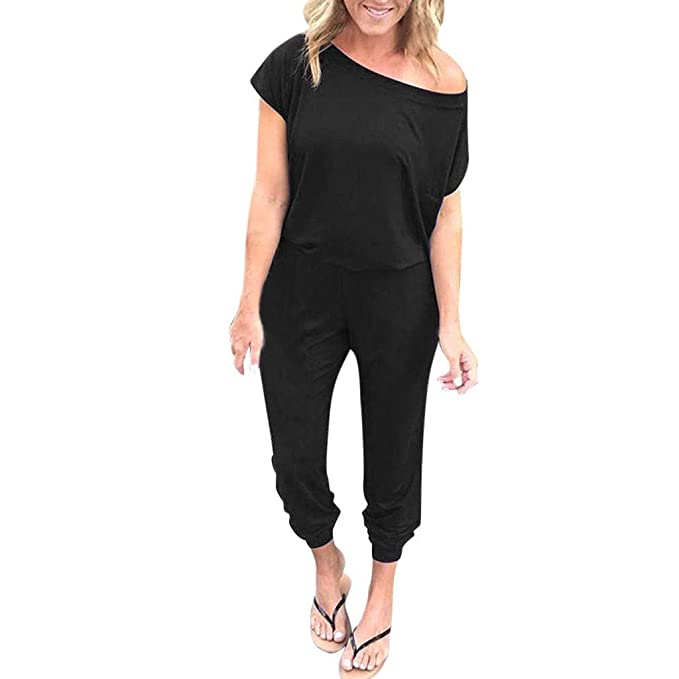 cd67b9ca614 Women s Jumpsuits Crewneck One Off Shoulder Short Sleeve Elastic Waist  Romper Long Playsuits with Pockets Black
