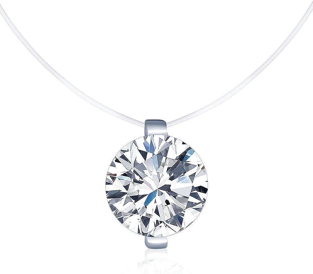 Unendlich U - Collares Mujer Niña, Collares Invisible Colgantes de Diamantes, en Plata de Ley 925 Cadena Transparente con Colgantes