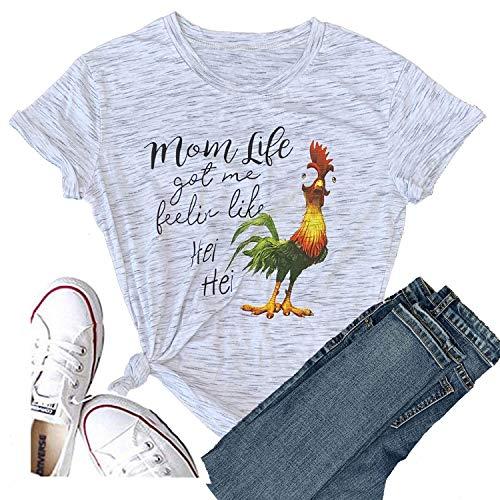 - Hellopopgo Mom Life Shirts Women Got Me Feelin Like HEI HEI Short Sleeve T-Shirt Casual Top (X-Large, White)