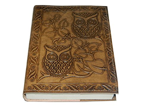 Handmade Owl Embossed Leather Journal Pocket style Re-fillable 7x5 Blank Pages Tanned Color for Men and Women