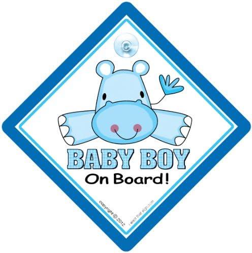 Baby On Board Baby An Bord Nilpferd Blau Vinyl Baby Auto Aufkleber Baby On Board Schild Mutterschaft Autoaufkleber Aufschrift Baby Boy Baby Motiv Für Das Auto Küche Haushalt
