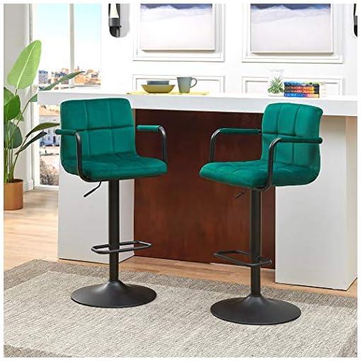 Kitchen DUHOME ELEGANT LIFESTYLE Bar Stools Modern Swive Adjustable Barstools Sets of 2 Counter Height Velvet Home Bar… modern barstools