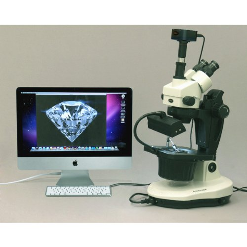 AmScope GM400TZ-10MA Digital Trinocular Gemology Stereo Zoom Microscope, WH10x Eyepieces, 3.5X-90X Magnification, 0.7X-4.5X Zoom Objective, Halogen and Fluorescent Lighting, Inclined Pillar Stand, 110V-120V, Includes 0.5X and 2.0X Barlow Lenses, 10.7MP Ca by AmScope