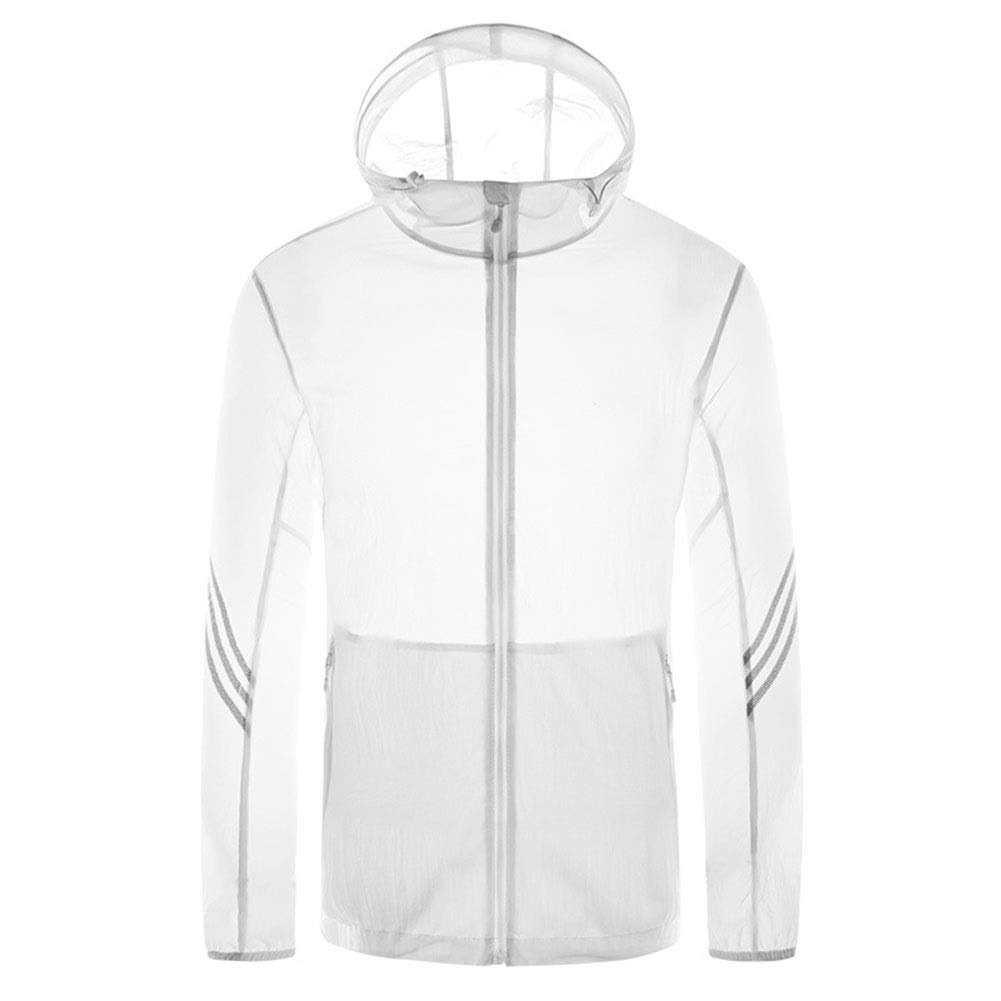 Spring and Summer New Outdoor Riding Hooded Skin Windbreaker Breathable and QuickDrying Sunscreen Fishing Clothes (color   White(Male), Size   4XL)