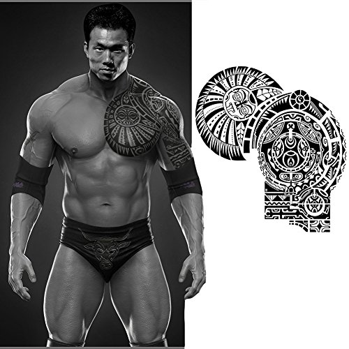 (Waterproof Temporary Tattoos Paper Sticker Dwayne Johnson Totem Large Body Art (27x21cm))