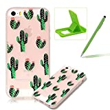 Clear Case for iPhone SE,Soft TPU Cover for iPhone 5S,Herzzer Ultra Slim Pretty [Cactus Flower Pattern] Silicone Gel Bumper Flexible Crystal Transparent Skin Protective Case + 1 x Free Green Cellphone Kickstand + 1 x Free Green Stylus Pen