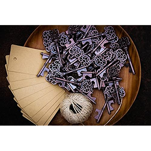 Wedding party gifts amazon wedding favors for guests party favors rustic vintage key bottle opener with escort card tag and twine 50 pcs junglespirit Gallery