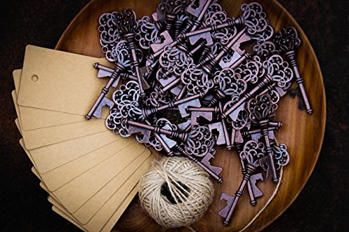 Wedding Favors for Guests Party Favors Rustic Vintage Key Bottle Opener with Escort Card Tag and Twine 50 Pcs (Wedding Antique Favors)