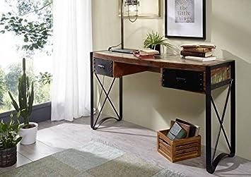Bois massif vieux chêne fer verni bureau meuble massif style