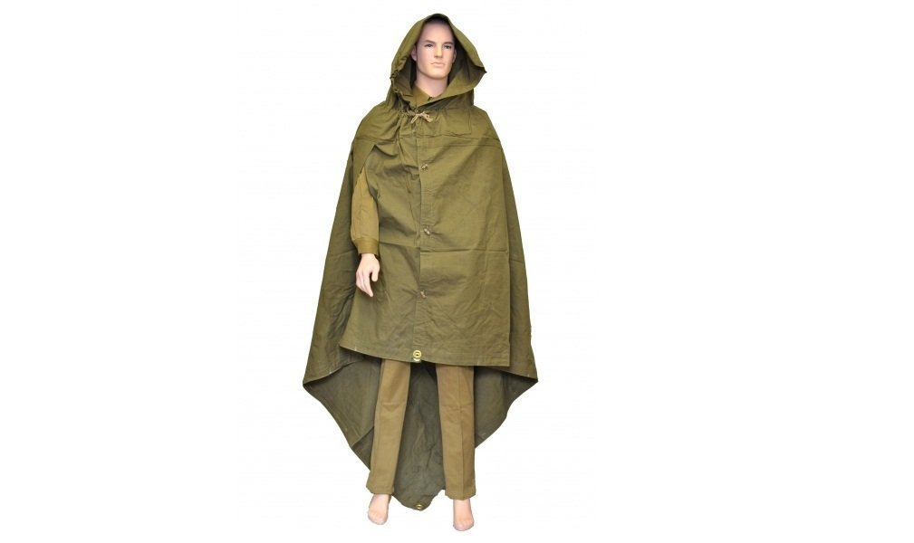 Made in Ussr Original Soviet Russian Army WWII Type Soldier Field Canvas Cloak Tent Raincoat Poncho Plasch-palatka with Leather Carrying Strap by S.U.R.& R.Auto Parts   B012TBCMBM