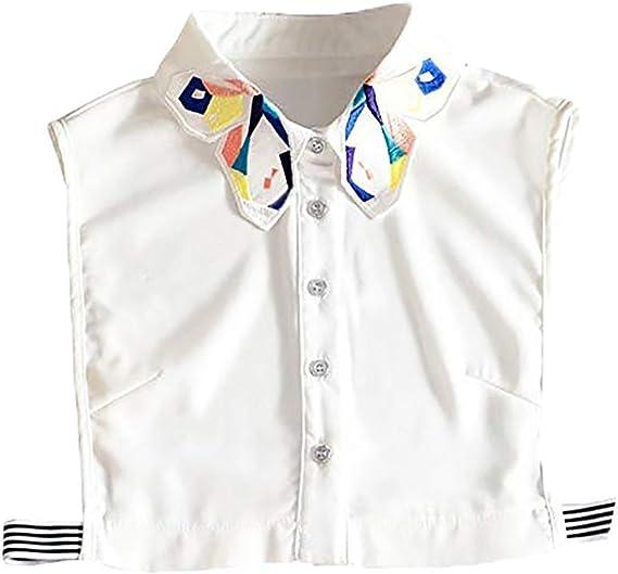 LANGUGU Stylish Detachable Fake Collar Half Shirt Blouse Embroidered Birds Pattern Chiffon False Collar Dickey Collar
