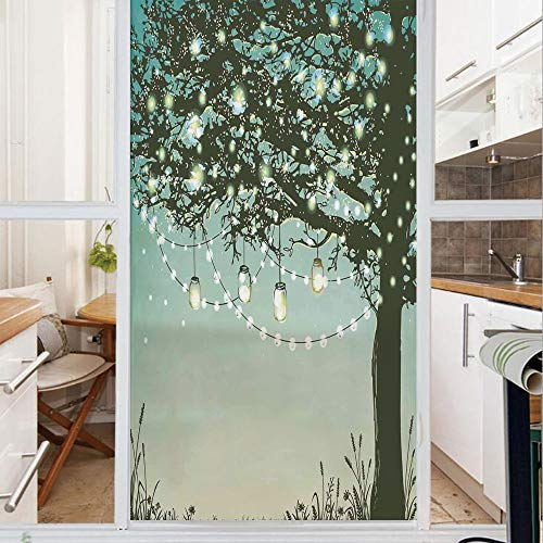 Decorative Window Film,No Glue Frosted Privacy Film,Stained Glass Door Film,Lanterns and Lamps Hanging on Tree Branch Decorative Backyard Party Illustration,for Home & Office,23.6In. by 35.4In Green Y