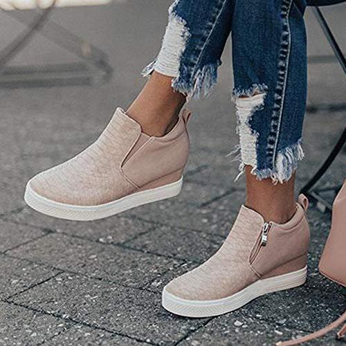 Ermonn Womens Wedge Sneakers Fashion High Top Side Zipper Platform Booties Flat Shoes