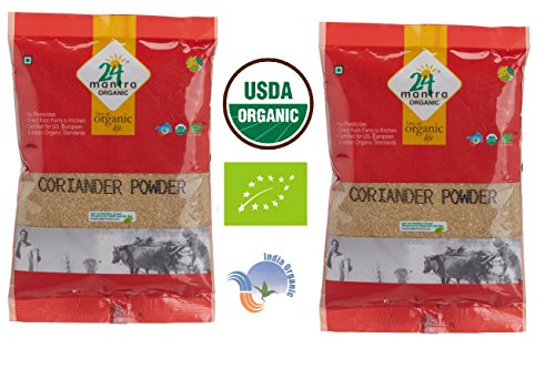 Organic Coriander Powder - Coriander Seeds Powder - ★ USDA Certified Organic - ★ European Union Certified Organic - ★ Pesticides Free - ★ Adulteration Free - ★ Sodium Free - Pack of 2 X 7 Ounces(14 Ounces) - 24 Mantra Organic by 24 Mantra Organic