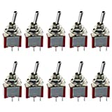 E Support™ On/Off Mini Miniature Toggle Switch Car Dash Dashboard SPST 2Pin Pack of 10