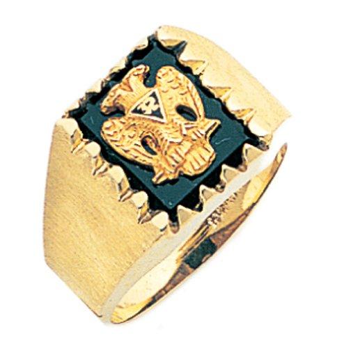 Mens 14k Yellow Gold Masonic Scottish Rite Open Back Ring (Size 13) Mens Open Back Masonic Ring