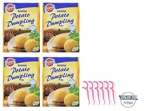 (Panni Mix Bavarian Potato Dumpling 6.88 oz (Pack of 4) with 20ct Dental Flossers in a Prime Time Direct Sealed Bag)