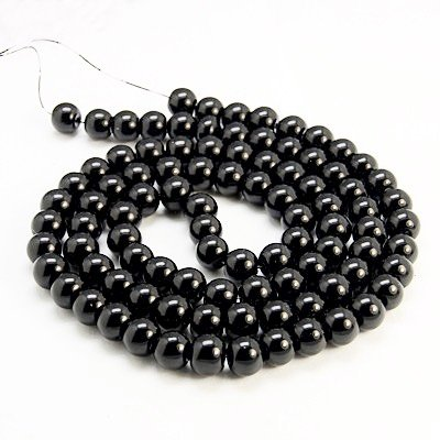 (AMZ Beads - Package of 200! 6mm Glass Round Pearls Jewelry Making Loose Pearl Beads ... (Jet Black))